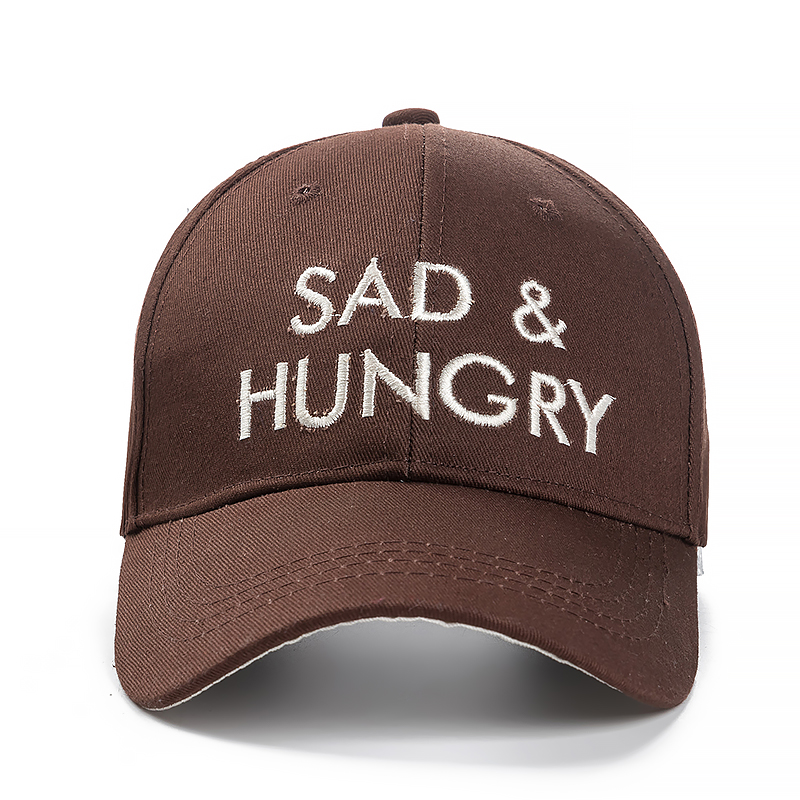 Sad and Hungry Letter Embroidery Baseball Cap Women Solid Hat Cap Casual Street Dad Hat Fashion Colors Cap