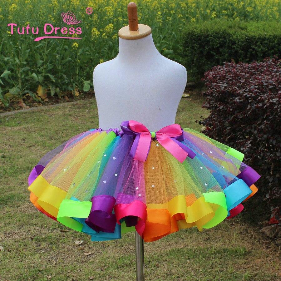 1 STÜCK Neue 2018 Mädchen Kleid Baby Kinder Mädchen Kleid Tutu Kleid Kinder Mit Diamant Regenbogen Kleider