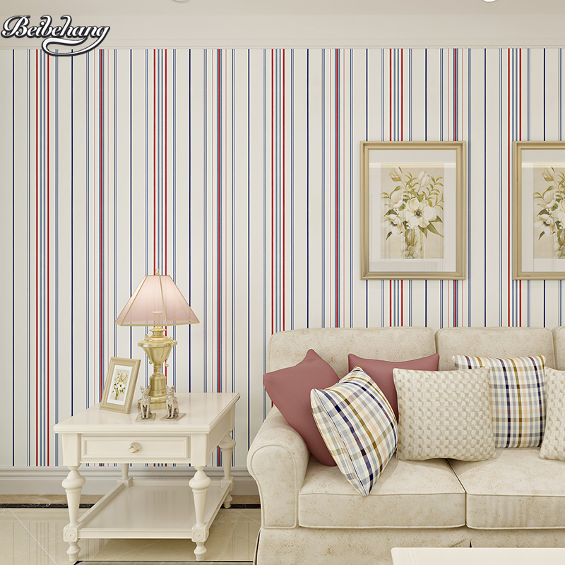Купить с кэшбэком beibehang Plain Paper Striped Wallpaper Mediterranean Style Vertical Striped Bedroom Living Room TV Sofa Background Wallpaper