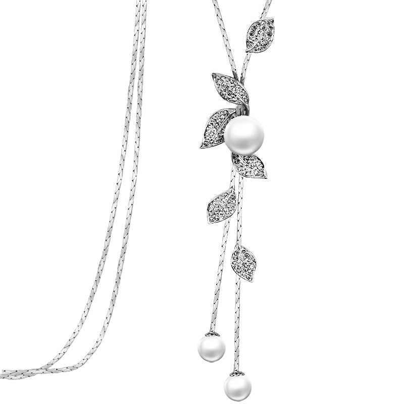 32cec115b674 Meyfflin Collier Femme simulado perla collar largo moda mujer cristal copo  de nieve COLLAR COLGANTE joyería
