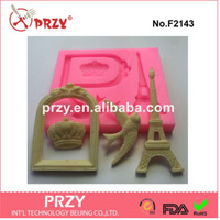 PRZY Eiffel Tower mold for fondant silicone mold for cake decorations crown eagle & Picture frame 4 hole mold