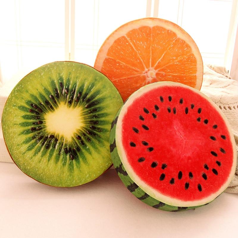 Candice guo plush toy 3D fruit watermelon orange Kiwifruit Pitaya lemon Cake tyre tree sofa pillow cushion birthday gift 1 pc