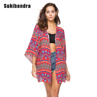 Sukibandra Summer Beach Cover Up Red Shirt Blouse Women Female Floral Print Bohemian Long Kimono Loose
