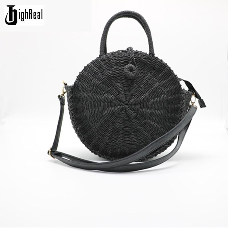 Women Handbag Summer Beach Tote Circle Bag Handmade Rattan woven Round handbag Straw Knitted Messenger Bag C243 сумки для детей zipit сумка premium tote beach bag