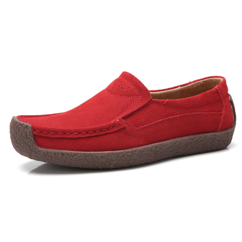 Moccasins Flat-Shoes Ladies Driving-Loafers Suede-Flats Slip-On Women 100%Natural-Leather