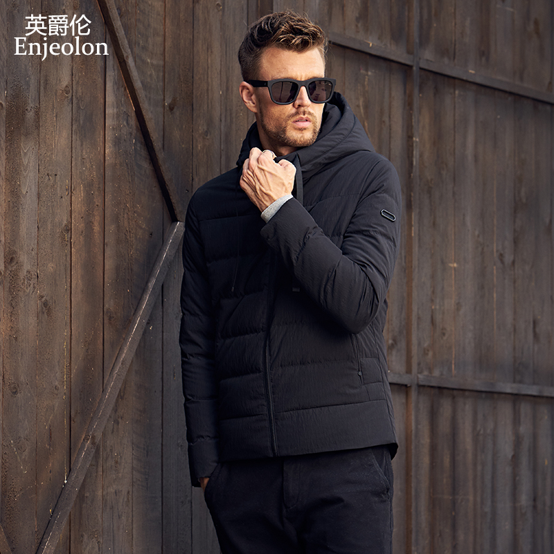Enjeolon Brand Quality Thicken Winter   Down   Jacket Men Light Hooded Clothing 2 Color Parka   Coat   For Men 3XL   Down   Parka MF0110