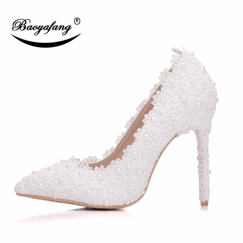 BaoYaFangWhite lace pearl Womens Wedding shoes Bride 9cm thin heel pointed toe Party dress shoes woman female shoe plus size women wedding shoes flat heel round toes plus size bride shoes lady female sweet lace pearls proms dress evening party shoes