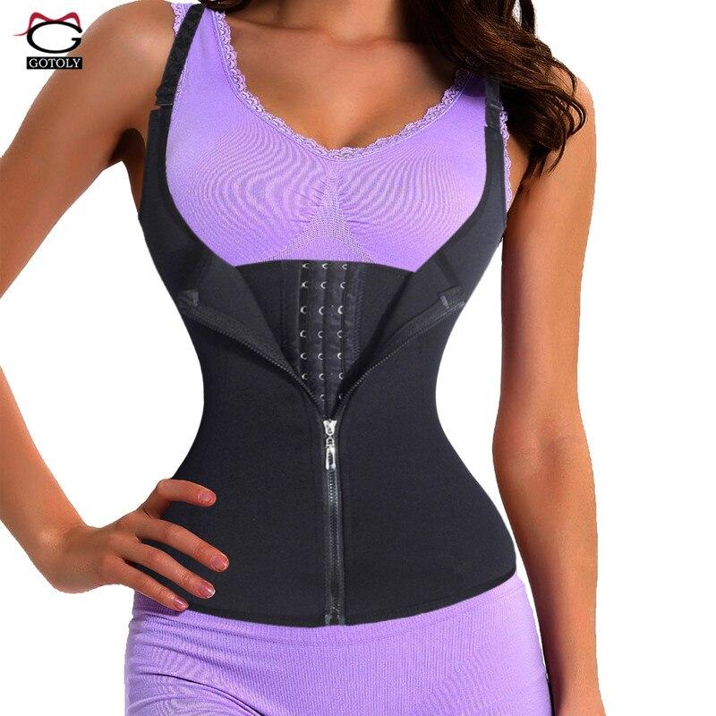 Verstellbarer Schultergurt Taille Trainer Weste Korsett Frauen Reißverschluss Haken Körperformer Taille Cincher Bauch-steuer Abnehmen Shapewear