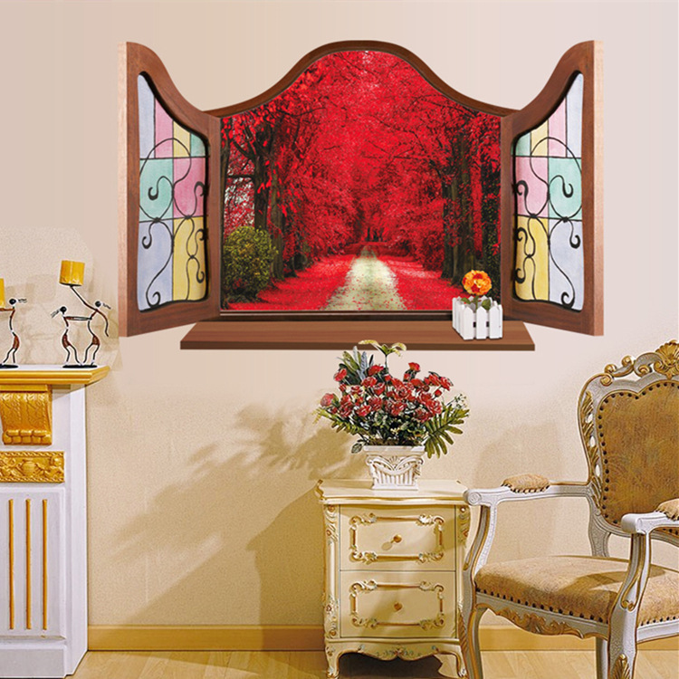 2016 <font><b>Creative</b></font> Removable European <font><b>Style</b></font> False Windows <font><b>Red</b></font> Maple Forest Home Decoration <font><b>Wall</b></font> <font><b>Sticker</b></font> Bedroom <font><b>Wall</b></font> <font><b>Decals</b></font> Wallpaper