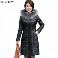 Moda chaqueta de invierno mujeres Fox Pieles de animales collar pato blanco Abrigos de plumas abrigo caliente grueso parka casaco feminino más tamaño l-8xl