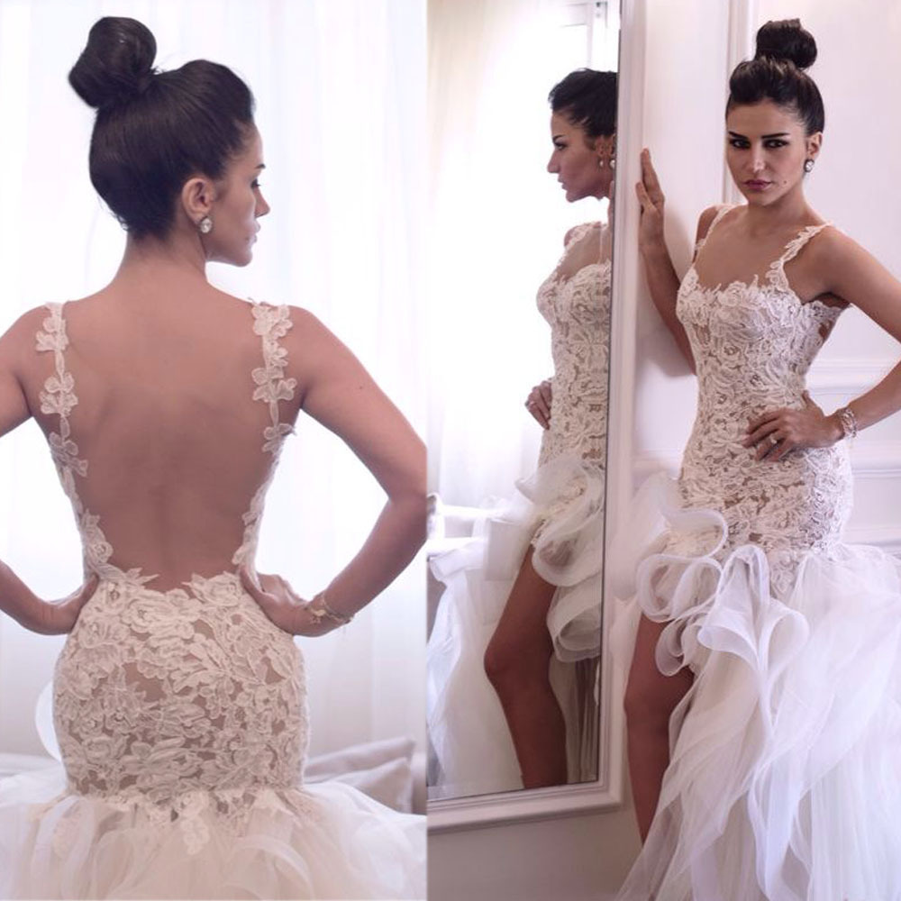 New Arrival Spaghetti Straps Sexy Backless Lace High Low 2018 With Ruffles Short Front Long Back Brides bridesmaid dresses