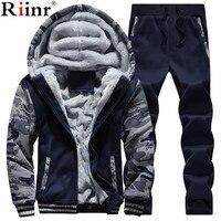 Riinr Men Tracksuit Set Winter Fleece Hood Jacket+Pants Sweatshirts 2 Piece Set Hoodies Sporting Suit Coat SportSet Sportswear