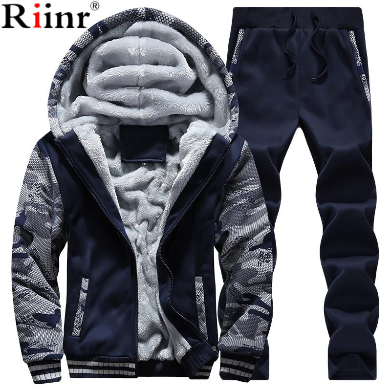 Riinr Men Tracksuit Set Winter Fleece Hood Jacket+Pants Sweatshirts 2 Piece Set Hoodies Sporting Suit Coat SportSet Sportswear