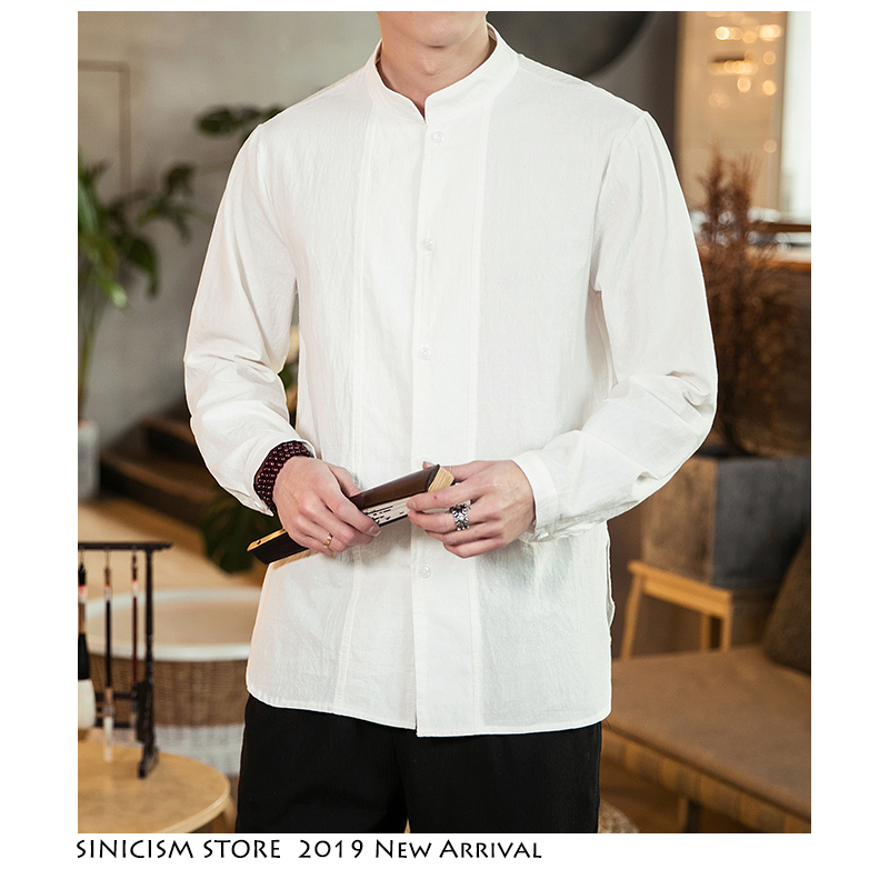 Sinicism Store Men Summer Solid Vintage Shirts Linen 2019 Mens Loose Fashion Shirt Male White Shirt Long Sleeve Shirts Plus Size