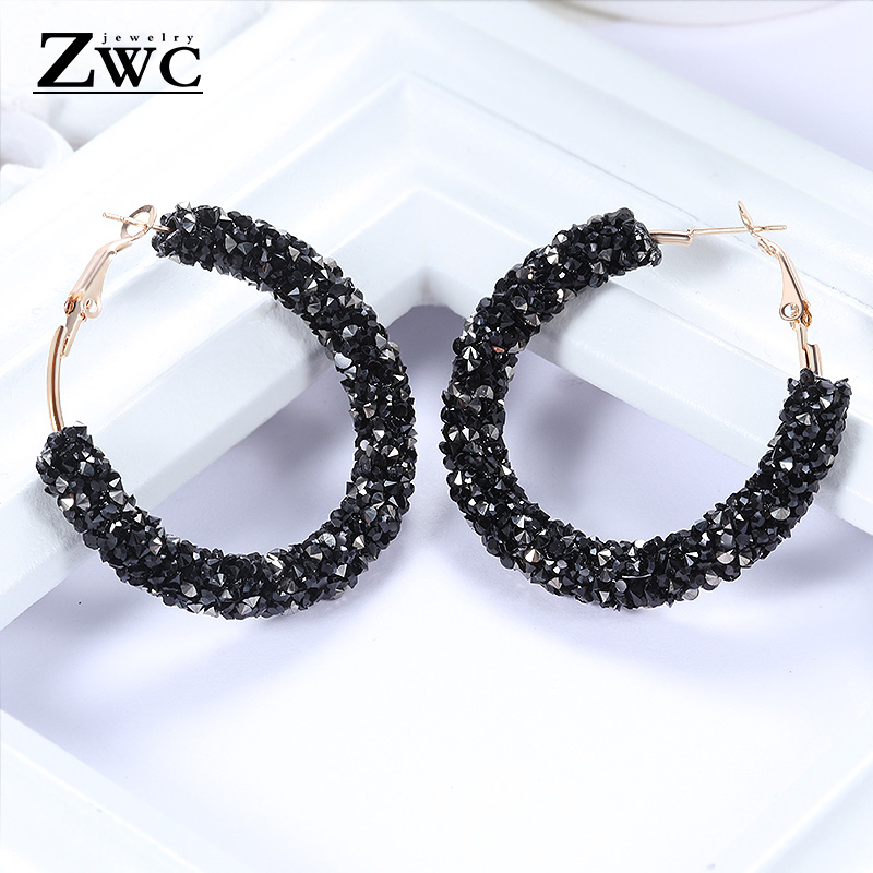 ZWC Vintage Korean Big Earrings for Women Female Fashion
