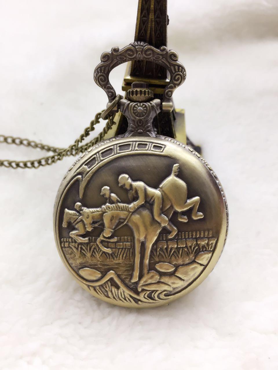Vantique Bonze Horse Quartz Pocket Watches