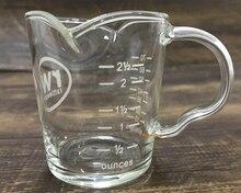 Taza de café de cristal resistente al calor, alta temperatura, alta calidad, hiqh, 1 unidad, 70ML, herramientas para expreso, taza de cristal con escala