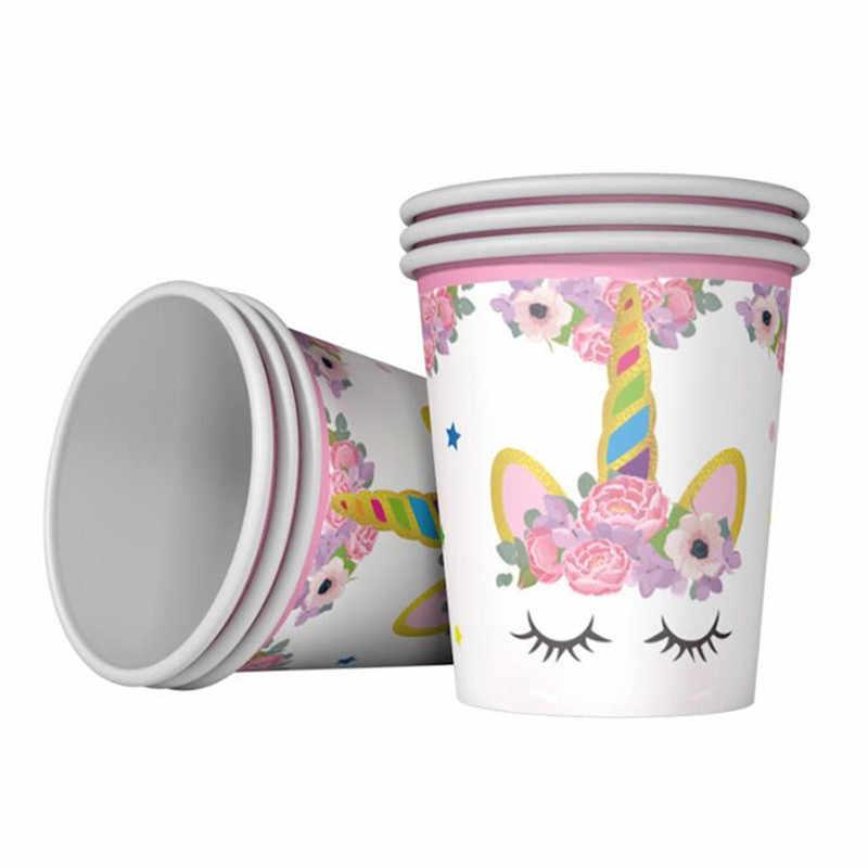 ยูนิคอร์นสีชมพู Theme ผ้ากันเปื้อนแผ่นถ้วยฝักบัวอาบน้ำเด็กเทศกาล Party Supplies ชุดสำหรับสาวงานแต่งงานตกแต่ง