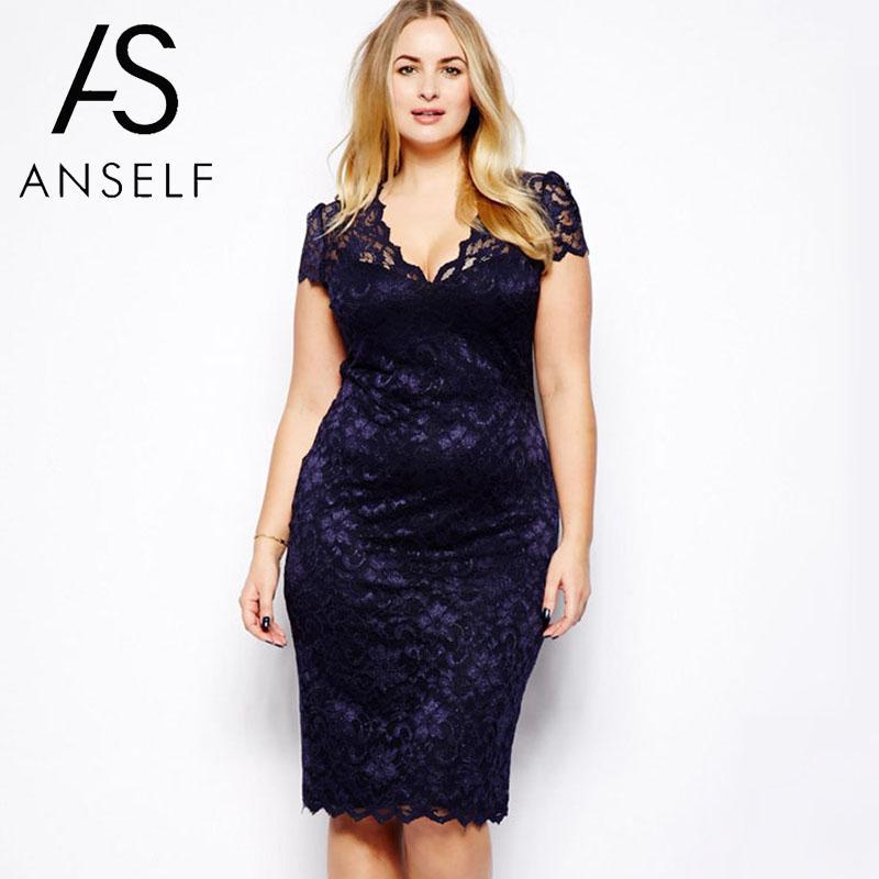 9353ae944daa5 US $9.14 30% OFF 3XL 4XL Plus Size Pencil Dress Women Floral Lace Dress  clubwear Midi Dress V Neck Elegant Ladies Bodycon Party Dresses female-in  ...