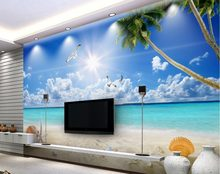 3d wallpapers voor muur Custom 3d muurschildering behang Strand Seaview behang interieur 3d voor badkamer(China)