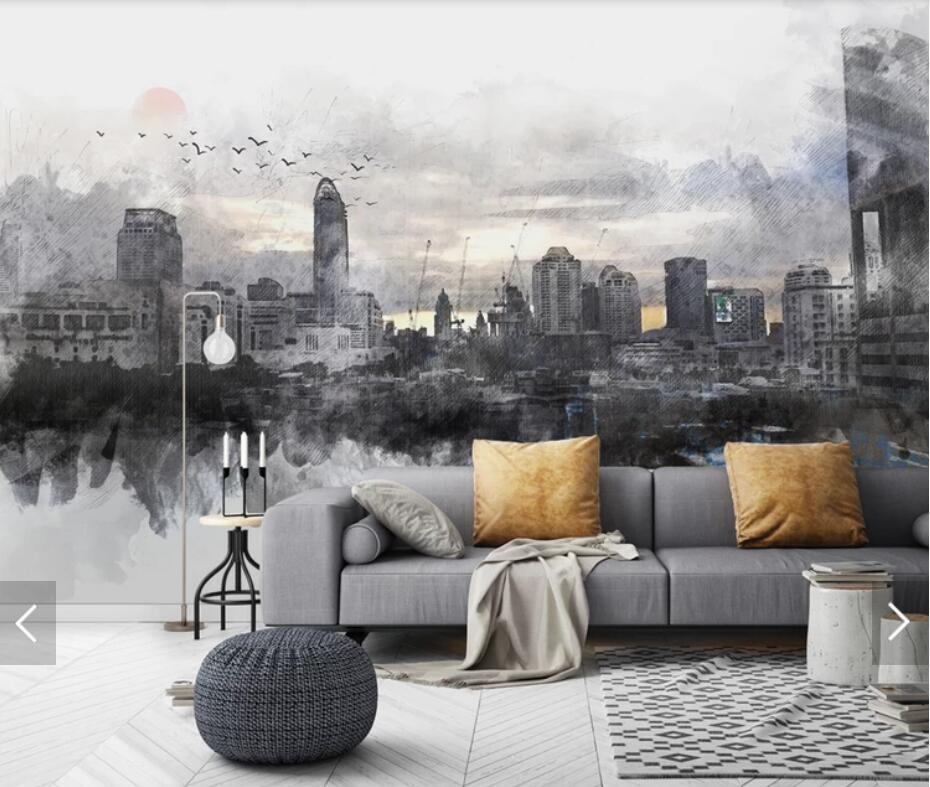 Hand Painting City Night View Photo Wallpaper Mural For