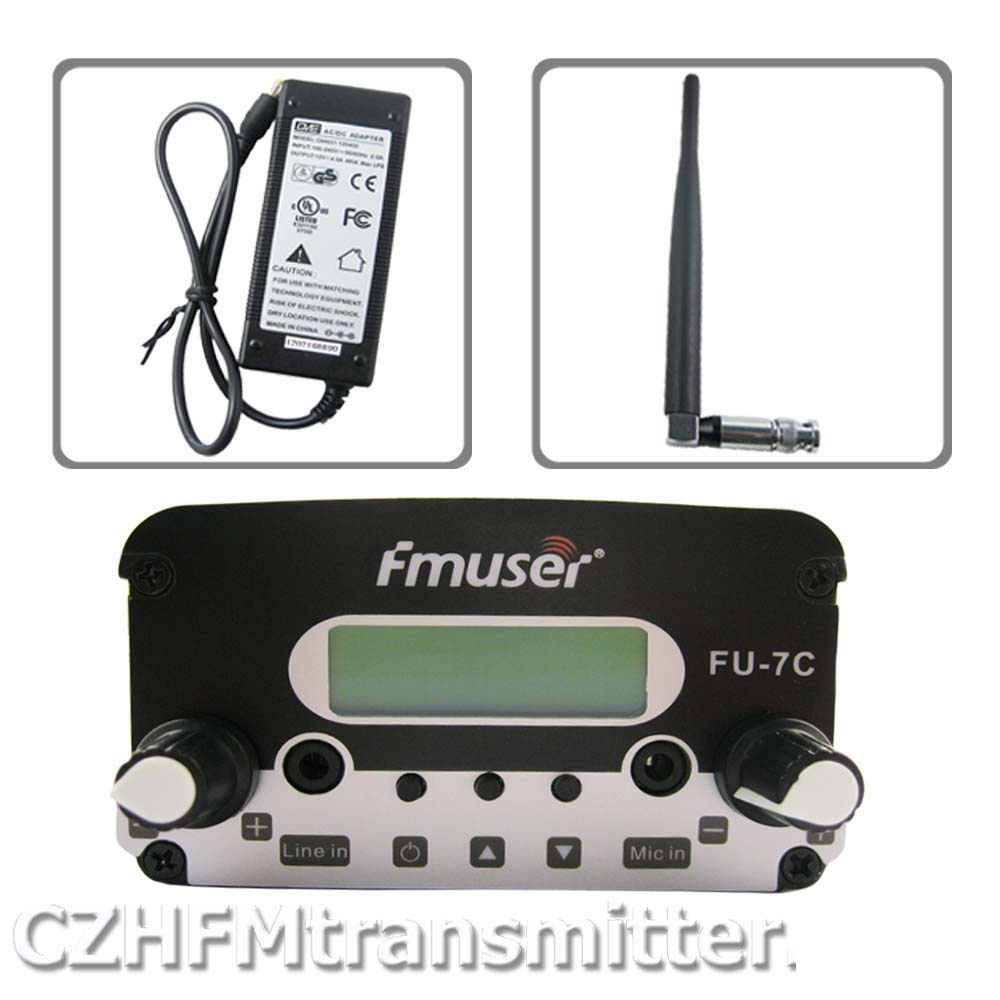 FMUSER FU-7C 7w stereo PLL broadcast transmitter 76MHz~108MHz +rubber antenna +power adapter cze 7c 7watt stereo lcd broadcast radio station fm transmitter 12v adapter antenna cable