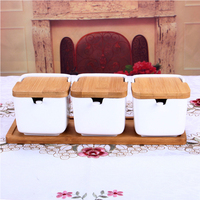 Three pieces of ceramic seasoning can be made from a simple clamshell bone China seasoning pot set with bamboo cover