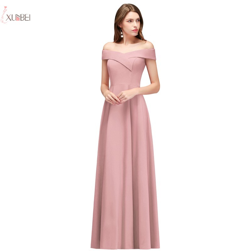 New Elegant 2019 Pink Long   Evening     Dress   Off The Shoulder Sleeveless   Evening   Party Gown robe de soiree