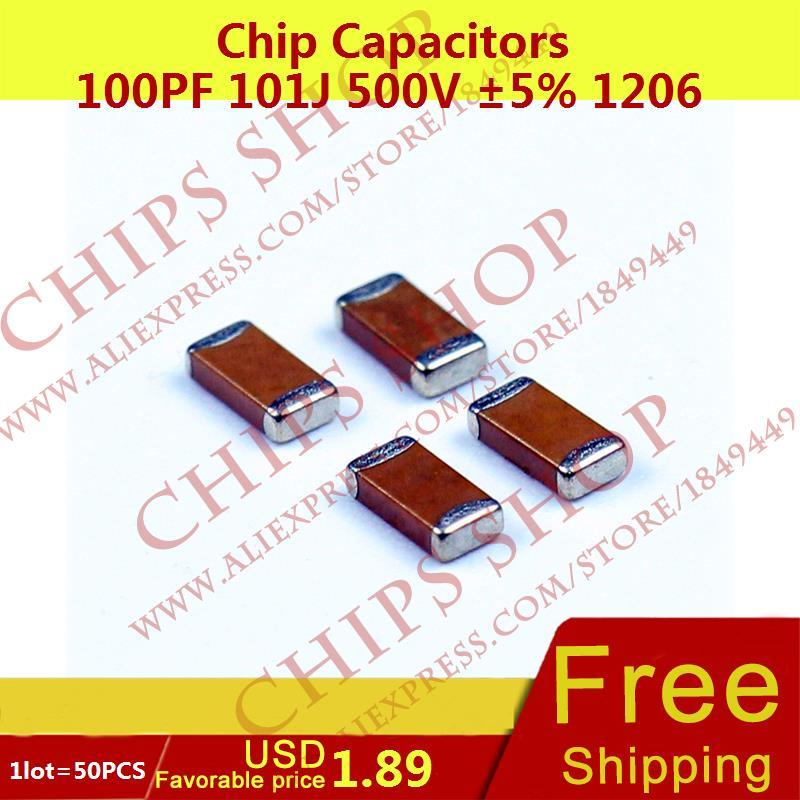 1LOT=100PCS Chip Capacitors 100pF 101J 500V 5% 1206 0.1nF Package1206 (3216 Metric) SMD