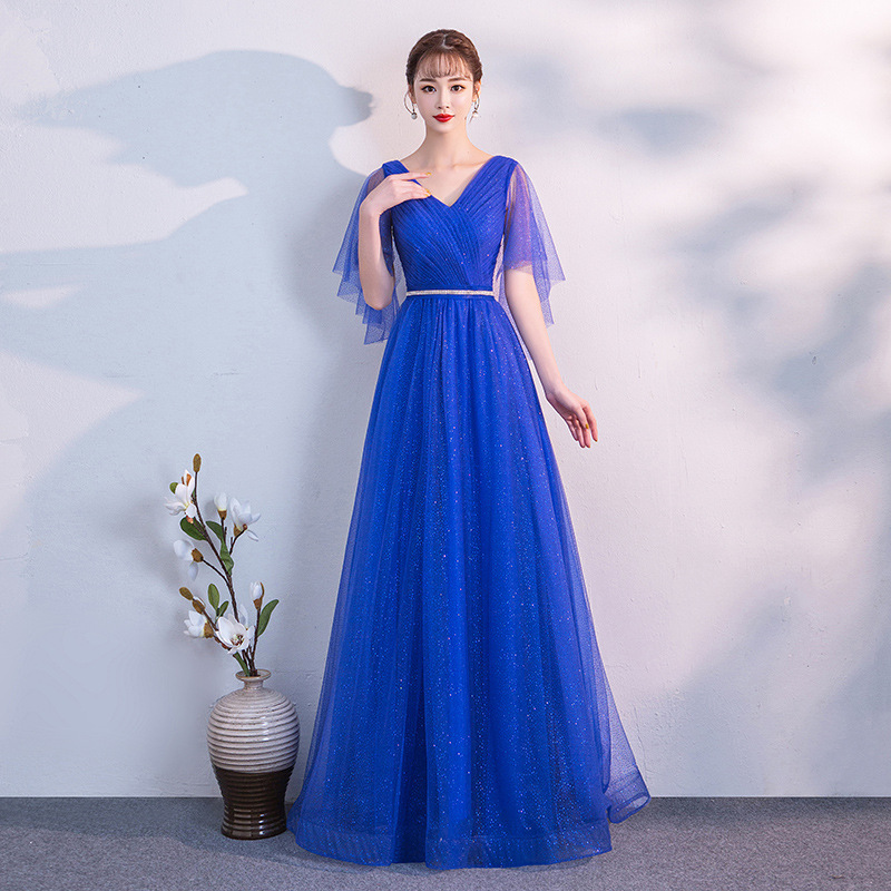 A-line   Evening     Dress   Navy Blue Plus Size Formal Prom   Dress   V-neck Half Sleeves Floor Length A-line Long Bandage Party Gown E356