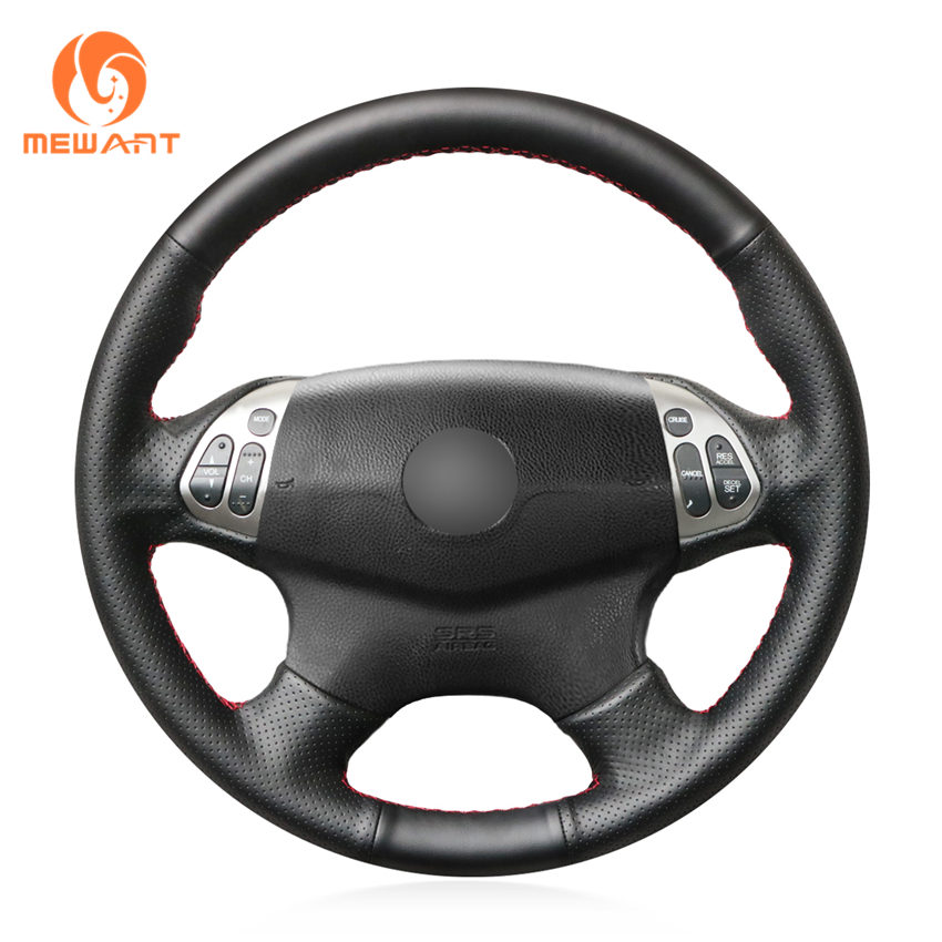 MEWANT Hand Sewing Black Artificial Leather Car Steering