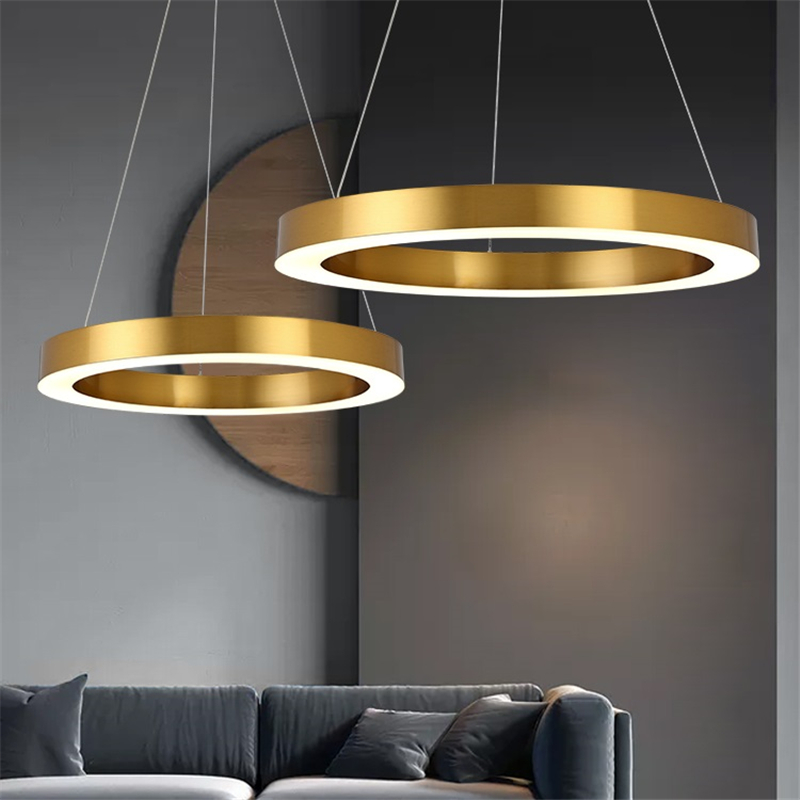 Gold Led Circular Dining Post Pendant Ring Modern Lamp Steel Room Lustre Hanging Stainless Lights Round Living PN8wOX0kn