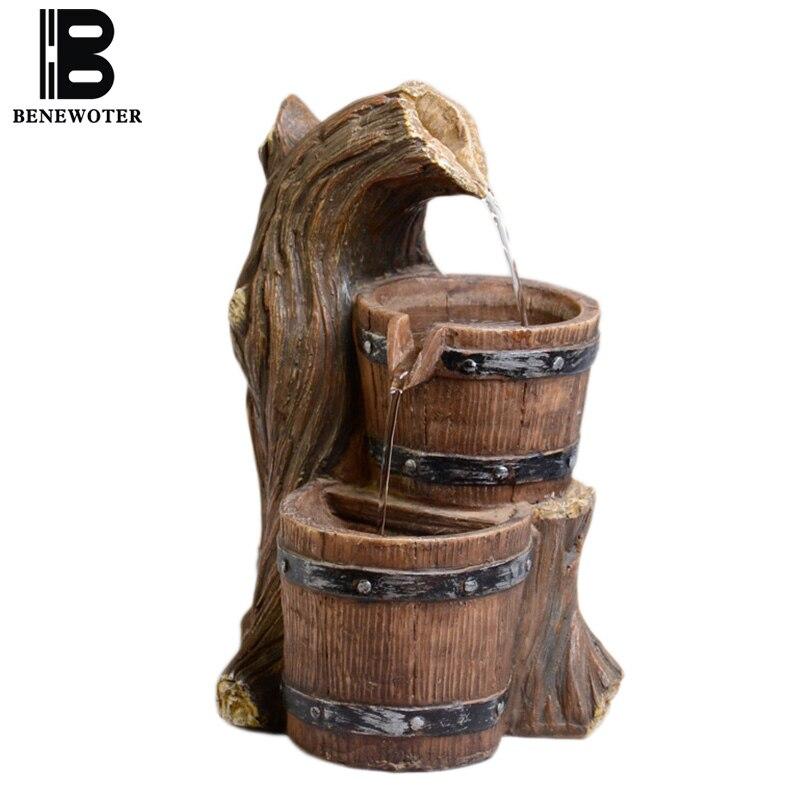 110/220 V céramique Feng Shui fontaine d'eau purifiant Air résine baril forme décoration de la maison artisanat pour cadeaux d'anniversaire Waterscape