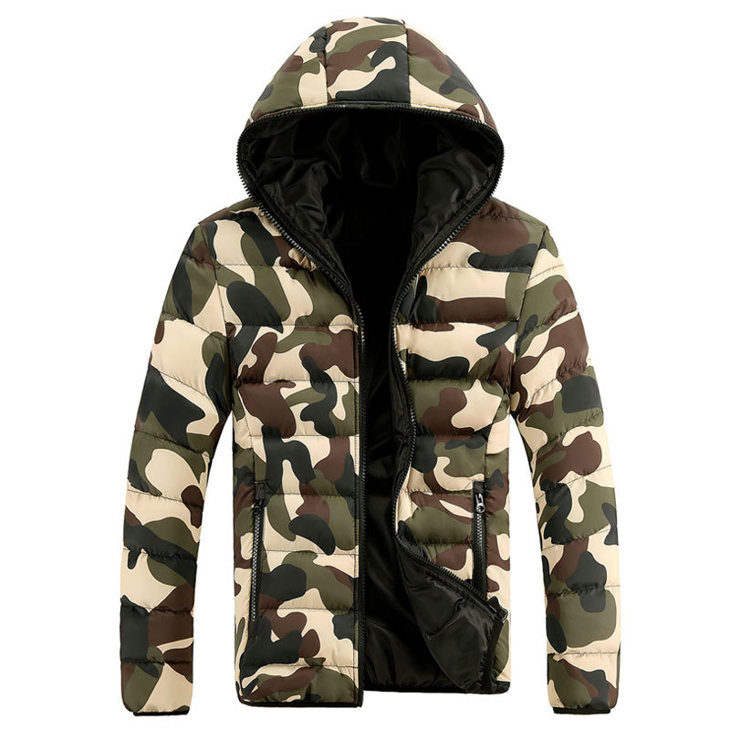2018 New Cotton Warm Mens Winter Jacket Fashion Camouflage Coat Men Thick Casual Hooded Greatcoat Men   Parka   Outerwear Snow WFY26