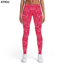 KYKU Flower Leggings Women Love Sport Red Ladies Harajuku Sexy Abstract Trousers Womens Pants Fitness Slim Summer