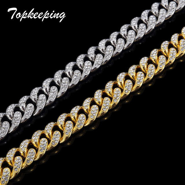 Mens Luxury Gold Color Iced Out Rhinestone Fashion Bracelets & Bangles Miami Cuban High Quality Link Chain Bracelet for Hip Hop 5