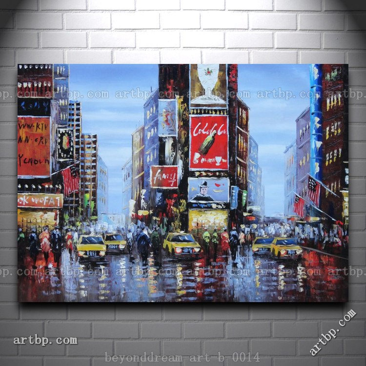 New York City Picture Canvas Painting Modern Wall Art: Times Square Of New York City Oil Painting Impressionism
