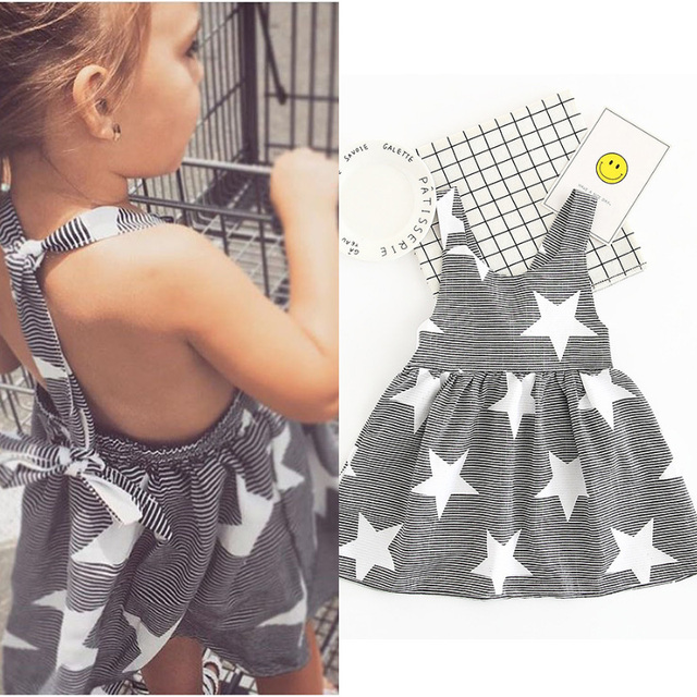 8ca3f47de4c 2017 Hot Summer Pretty Toddler Girl Dresses Striped Star Backless Strap  Evening Dresses Infant Party Dress Holiday Beach Dress