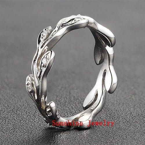 Full Eternity VINE Solid 14k White Gold Natural Diamond Engagement Wedding Band Ring