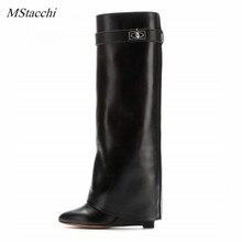 Mstacchi/женские сапоги до колена на танкетке с замком акулы, черные кожаные сапоги на высоком каблуке, женские сапоги на танкетке с острым носком, большие размеры 10