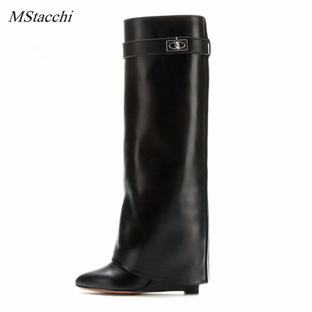 Mstacchi Shark Lock Women Wedge Knee High Boots Black Leather Fold High Heel Boots Female Pointed Toe Wedges Botas Big Size 10
