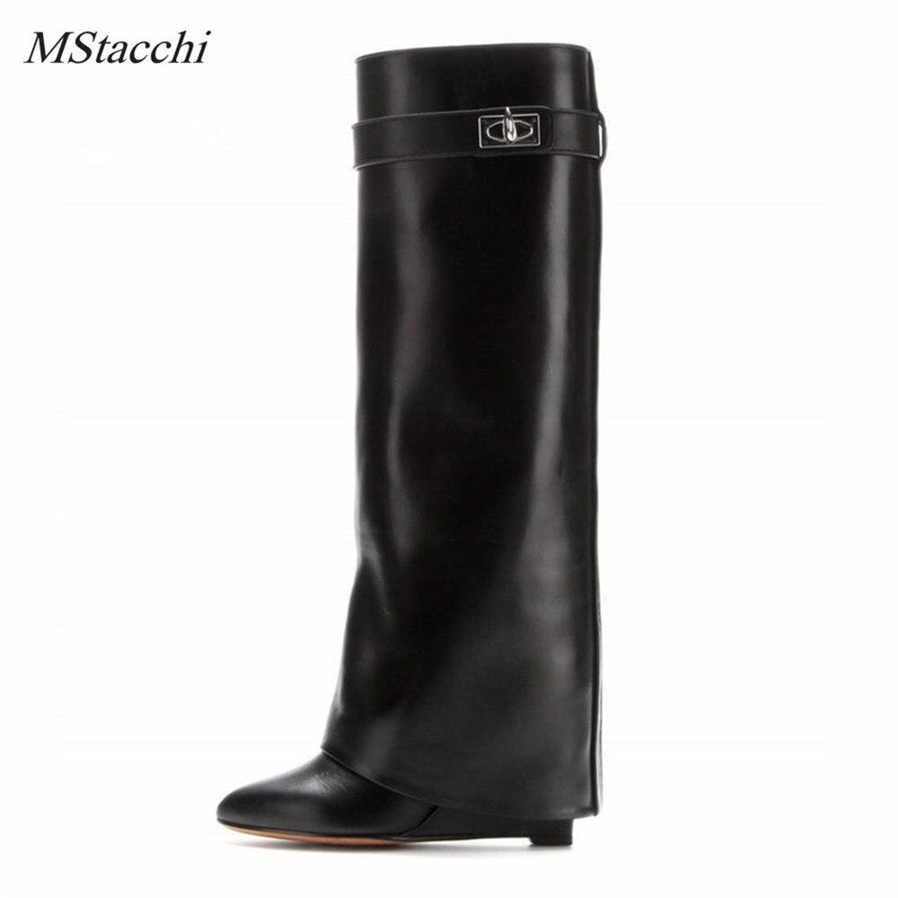 Mstacchi requin Lock femmes Wedge genou bottes hautes en cuir noir pli bottes à talons hauts femme bout pointu cales Botas grande taille 10-in Bottes hautes from Chaussures    1