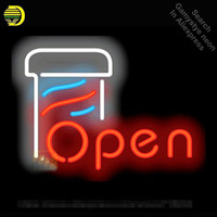 Neon Sign for Barber Pole Neon OPEN Sign neon bulb Sign Beer Bar Pub Neon lights Sign glass Tube Iconic Advertise Night Light