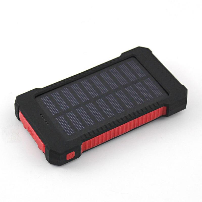 imágenes para Real 10000 mAh Banco de la Energía Impermeable resistencia a la caída de Choque Dual USB Cargador De Viaje Solar PowerBank Para El teléfono inteligente Android