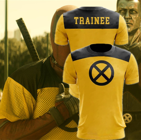 Deadpool 2 T-Shirt Superhero Yellow Slim Short Mens Short Sleeve Cosplay T shirts Tee Shirt Tops Halloween Deadpool2 Costume