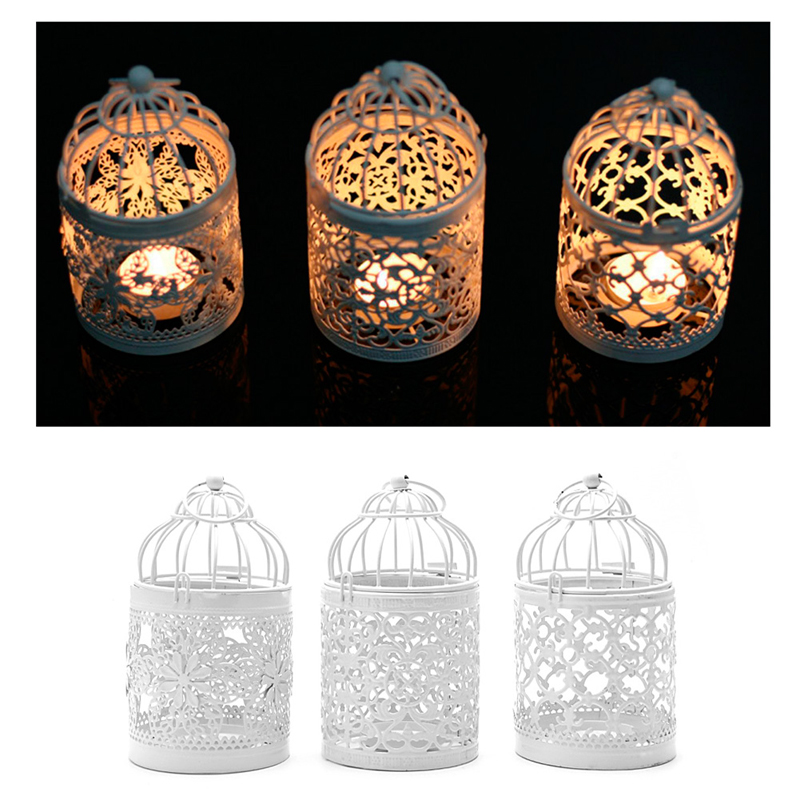 Home Decoration Hollow Holder Tealight Candlestick Hanging Lantern Bird Cage Vintage Christmas/Fairy Wedding/Party Decoration