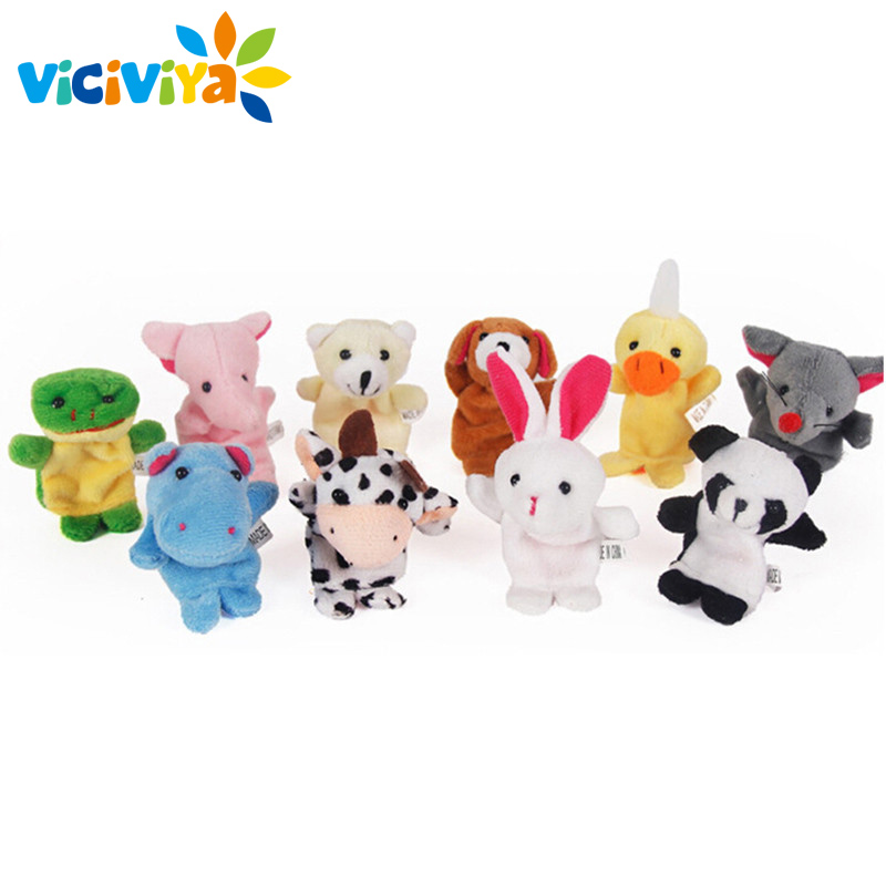 VICIVIYA 10Pcs/Set Cute Cartoon Biological Animal Finger Puppet Plush Toys Child Baby Favor Dolls Boys Girls Finger Puppets
