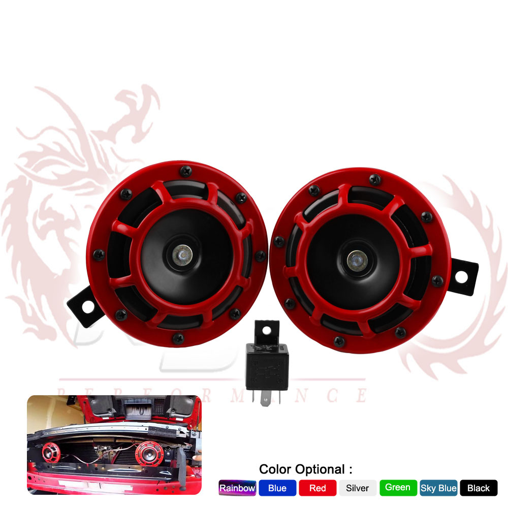 Red Super Loud Compact Electric Blast Tone Horn For Cars//Trucks//Suv