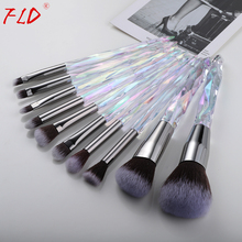 FLD 10Pcs Makeup Brush Set Foundation Blush Brushes Eyeliner Eyebrow Concealer Tool Kit Cosmetic