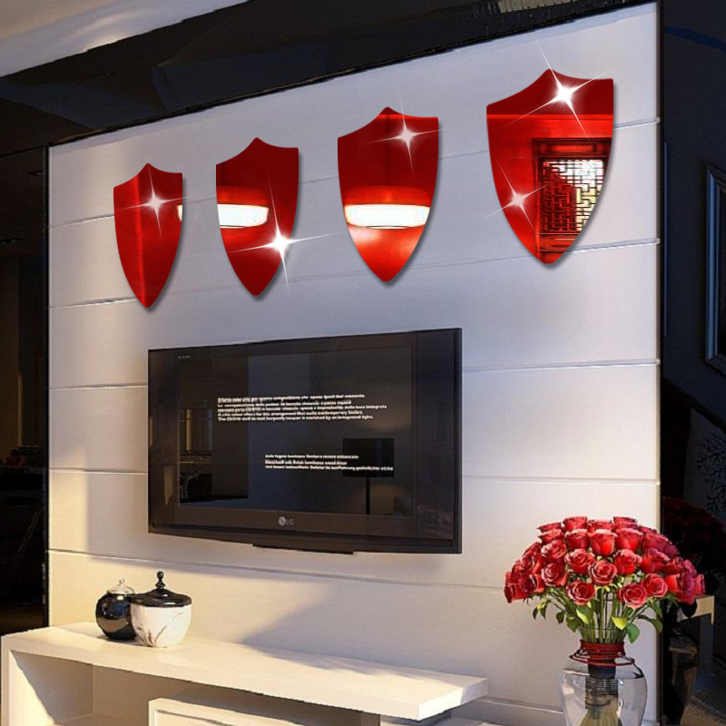 online shop 1pcs 40x27cm knight shield pattern mirror stickers kids bedroom bedroom living room entrance tv sofa background wall stickers aliexpress - Kids Bedroom Background